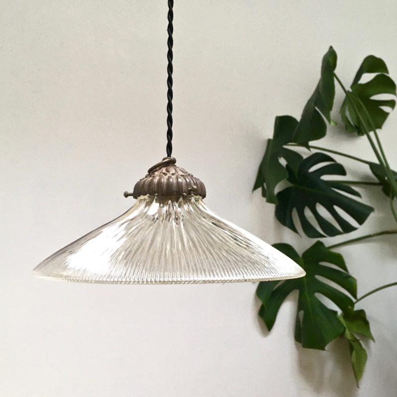 Suspension Holophane verrerie _5_ vue profil éteinte plante_Maison_Liedekerke_maison-lk