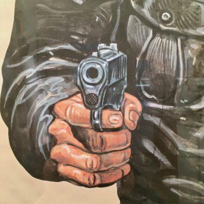 Affiche-PJ-homme-motard_zoom-pistolet_Maison_Liedekerke_maison-lk
